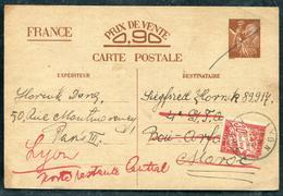 CP TYPE IRIS DE PARIS POUR LE MAROC , TAXÉE POSTE RESTANTE DE LYON LE 1/5/1941 - TB - Cartes Postales Types Et TSC (avant 1995)