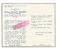 D 409. MARIA-JULIA DUMOULIN  Wed. F. Impe - °KORTRIJK 1870 / +ST-PIETERS-WOLUWE 1958 - Devotion Images