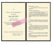 D 410. JULIA DE WIT  Wed. K. VAN CAMP - °BOOM 1897 / +ZWIJNAARDE 1974 - Images Religieuses