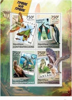 CENTRAL AFRICA 2013 STAMP ON STAMP BIRDS WILDLIFE MARINE INSECTS 4V PERF 15954-7 - Stamps On Stamps