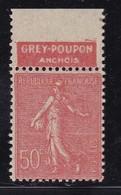 PUBLICITE: SEMEUSE LIGNEE 50C ROUGE GREY-POUPON-anchois HAUT ACCP 334** - Advertising
