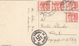 ÖSTERREICH 1938 - 4x3 Gro + Sonderstempel DR Auf Ak Künstlerkarte Anny Tekauz, Karte Linker Rand Beschnitten - 1918-1945 1. Republik