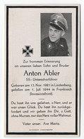 Sterbebild, SS,Unterscharführer,aus Lindenberg Gefallen In Frankreich - 1939-45