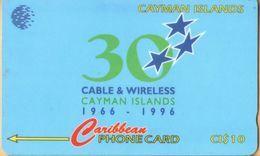 Cayman Island - CAY-94C, GPT, 94CCIC, 30 Years, Normal Zero, 10$, 35.000ex, 1996, Used - Kaaimaneilanden