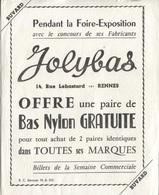 "BUVARD PUB ""JOLYBAS"" - FOIRE EXPO - RENNES - Textile & Clothing"