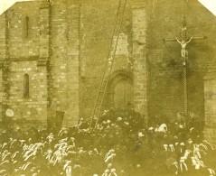 France Sanxay Eglise Plantation De La Croix Ancienne Stereo Photo Amateur 1900 - Stereoscopic