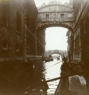 Italie Venise Pont Des Soupirs Ponte Dei Sospiri Ancienne Photo Stereo Amateur 1900 - Stereoscopic