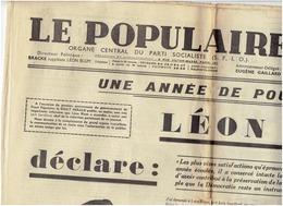LE POPULAIRE Du 4 Juin 37 Une Année De Pouvoir De LEON BLUM , Mort Du Général MOLA  , Les Accords De Matignon , Les 40 H - Other