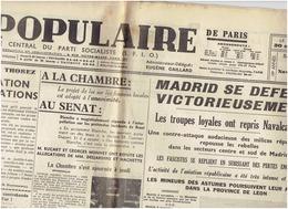 LE POPULAIRE Du 7 Novembre 1936 Guerre D'Espagne - Navalcanero - Other