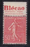 PUBLICITE: SEMEUSE LIGNEE 50C ROUGE BLECAO-déjeuner Léger Reconstituant HAUT ACCP 243* - Advertising