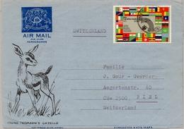 KENIA , UGANDA , TANZANIA , AEROGRAMA CIRCULADO A BIEL - Kenia (1963-...)