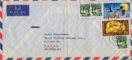 1966 , NIGERIA  , SOBRE CIRCULADO JOS - BASILEA, ARTESANIA - OYO CARVER , FAUNA - Nigeria (1961-...)