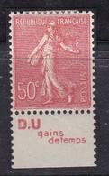 """PUBLICITE: SEMEUSE LIGNEE 50C ROUGE """"D.U"""" DOCUMENTATION UNIQUE-gain De Temps BAS ACCP 289 * - Advertising"""