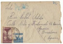 Sobre De Marruecos A  Barcelona. 1943. Con Sellos 239 Y Beneficencia 24. - Maroc Espagnol