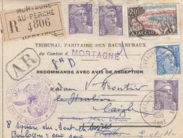 LSC 1955 .- Recommandé Et Cachet MORTAGNE AU PERCHE (Orne) Sur Marianne De Gandon + Divers Cachets Au Dos - 1921-1960: Moderne