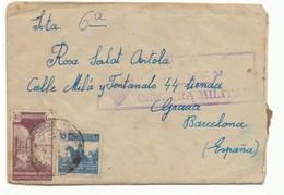 Sobre De Marruecos A  Barcelona. 1943. Con Sellos 239 Y Beneficencia 24. Censura Militar. - Maroc Espagnol