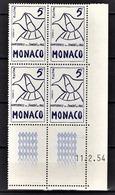 MONACO 1954 - BLOC DE 4 TP COIN DE FEUILLE / DATE / N° 400 - NEUFS** - Monaco