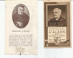 Lot De 2 Images Pieuses De Emmanuel D'Alzon Compenant Fragment De Vêtement - Devotion Images