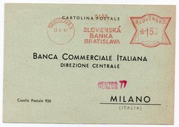 SLOVAKIA - SLOVENSKA BANKA BRATISLAVA 1942 - RED METER/EMA / CENSORED - Storia Postale