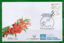 1645b URUGUAY 2018- FDC  70 Aniver. De La Declaración Universal De Los DDHH-TT: Palomas,Manos,Paz,Cadena Humana. - Uruguay