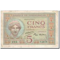 Billet, Madagascar, 5 Francs, KM:35, TB+ - Madagascar