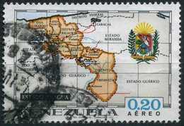 VENEZUELA 1971 - Mi. 1861 O, Map And Coat Of Arms Of The State | Administrative Regions Of Venezuela - Venezuela
