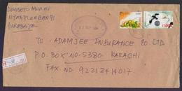 Birds Ducks Hologram Unusual Odd Shape Stamp On Postal History Cover From INDONESIA, Registered Used 2004 - Hologrammes