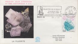 Enveloppe  FDC  Flamme   1er   Jour   Mineraux  :  Fluorite    PARIS   1986 - FDC