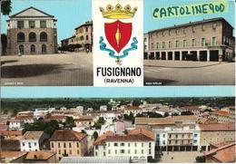 Emilia Romagna-ravenna-fusignano Vedute Vedutine Ospedale Banca Panorama Stemma Fusignano Anni 60 - Autres Villes