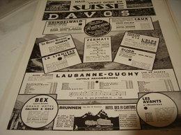 ANCIENNE PUBLICITE VENEZ DONC EN SUISSE 1931 - Publicidad