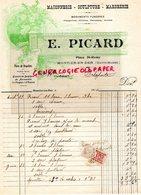 52- MONTIER EN DER- RARE FACTURE MANUSCRITE SIGNEE E. PICARD-PLACE ST REMY-MACON-MACONNERIE MARBRERIE-PIERRE BRAUVILLERS - Petits Métiers