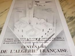 ANCIENNE PUBLICITE VOYAGE DE VOTRE VIE CENTENAIRE ALGERIE FRANCAISE 1929 - Publicidad