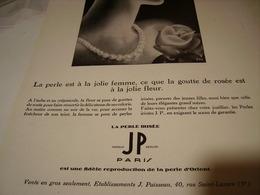 ANCIENNE PUBLICITE PERLE IRRISE DE JP   1929 - Jewels & Clocks
