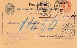 Schweiz: 1892: Ganzsache Schaffhausen Nach Emmishofen, Bug - Suisse