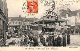 45 - Patay - La Place De La Halle - Le Marché Top Animation, Edit. Joudiou, 1908) - Otros Municipios