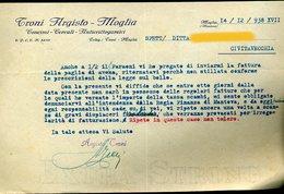 70  MOGLIA 1938 , TRONI ARGISTO , CONCIMI CEREALI ANTICRITTOOGAMICI  , LETTERA INTESTATA - Italia