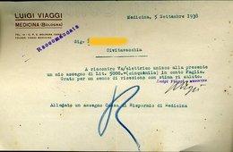 71 MEDICINA ( BOLOGNA) 1938 , LUIGI VIAGGI LETTERA INTESTATA - Italie