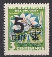 Uruguay 1959 Sc. 637 Surcharged Passion Flowers Fiori Passiflora Nuovo MNH - Uruguay