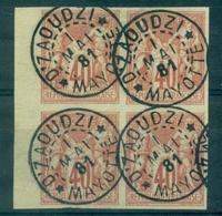 MAYOTTE N°27 Des Col Gen. Bloc De 4 B De F Ob D'ZAOUDZI 1 Mai 1881 TB Rare - Used Stamps