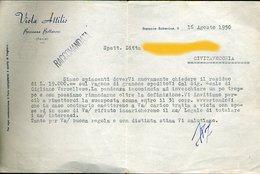 74 BRESSANA BOTTARONE 1950 VIOLA ATTILIO , LETTERA INTESTATA - Italie