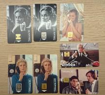 Lot De 7 Télécartes Téléphone Et Cinéma DEPARDIEU - BLIER - DENEUVE - MOREAU - SCHNEIDER - CLAVIER - 50 120 Unités - 1995