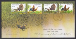 Singapore 2013 Joint Issue With Vietnam, Red Jungle Fowl, Grey Peacock Pheasant Joint Stamps FDC - Birds
