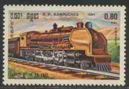 Cambodia Kampuchea Kambodscha 1984 Mi 586 YT 465 ** Franco-Belgian-built Steam Locomotive (1945), France  – Locomotives - Treinen