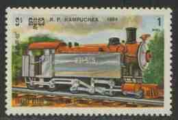 Cambodia Kampuchea Kambodscha 1984 Mi 587 YT 466 ** Steam Locomotive No. 231-505 (1929), France  – Locomotives - Treni