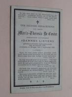DP Maria-Theresia DE COSTER ( Lievens ) St. Gillis/Dendermonde 19 Jan 1830 - Brugge 1 Sep 1886 (zie Foto's Voor Detail) - Obituary Notices