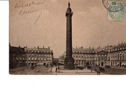 PARIS. -  La Place Vendôme. A Circulé En 1905. CPA Animée. Bon état. Voir Scan. - Squares