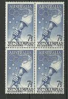 AUSTRALIA 1956 JJOO MELBOURNE Mi:AU 267, Sn:AU 289, Yt:AU 232, Sg:AU 291 ** MNH BL4 - Mint Stamps