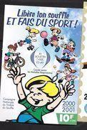 """Erinnophilie: Vignette Adhésive  12 X 8 """" Libère Ton Souffle Et Fais Du Sport! """" 10f   2000-2001 - Commemorative Labels"""