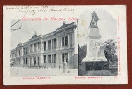 RECUERDO DE BUENOS AIRES  ESCUELA SARMIENTO  ESTATUA SARMIENTO  TO RAVENNA ITALY   9/8/1902 - Argentina