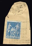 A4-15c Sage Cachet D'essai Paris Départ Carré De Points ( Cote CERES 2008 Sur Lettre 1400 Euros) - Marcophilie (Timbres Détachés)